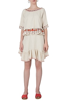 Khadi embroidered skirt with top by Akashi