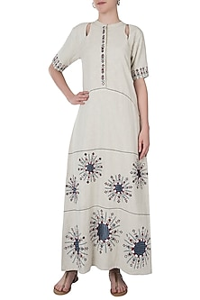 Khadi foil embroidered dress by Akashi