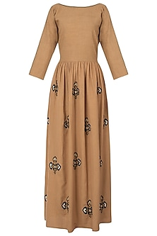 Beige embroidered maxi dress by Akashi