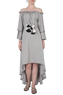 Grey embroidered off shoulder dress by Akashi