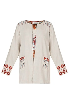 Khadi embroidered open jacket by Akashi