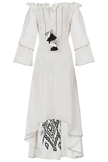 White embroidered off shoulder dress by Akashi