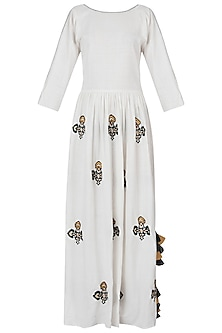 White embroidered maxi dress by Akashi