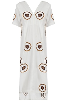 White embroidered high low dress by Akashi
