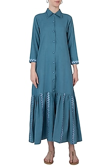Blue front open maxi dress by Akashi