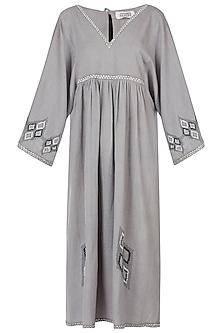 Grey embroidered midi dress