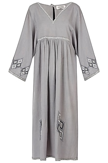 Grey embroidered midi dress by Akashi