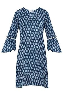 Indigo Blue Printed Short Dress