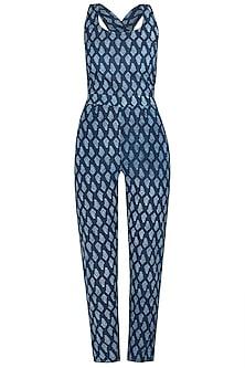 Indigo Blue Printed Sleeveless Jumpsuit