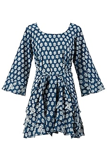 Indigo Print Embellished Frill Dress