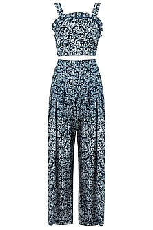 Indigo Print Embellished Crop Top with Palazzo Pants