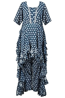 Indigo Print Embellished Frill Top with Pants
