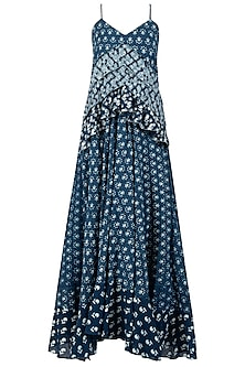 Indigo Print Embellished Frill Maxi Dress