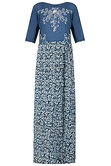 Indigo Print Embellished Slit Maxi Dress