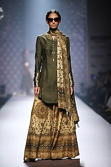 Olive green chudi sleeves shirt kurta with printed sharara and stole. by Ashima Leena