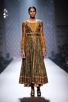 Mustard and olive green semi printed jacket anarkali with mustard printed churidaar by Ashima Leena