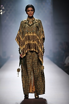 Olive green printed square cape with overlapped skirt by Ashima Leena