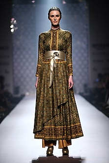 Olive green asymmetric anarkali with antique gold palazzo by Ashima Leena