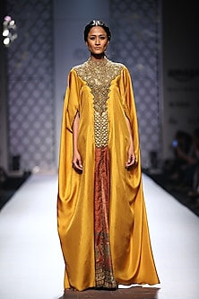 Mustard embellished kaftan with printed slit and green palazzos