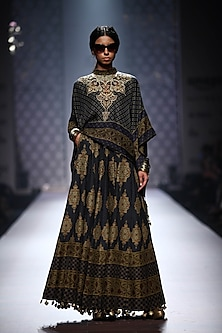 Navy blue printed square cape with navy printed skirt by Ashima Leena