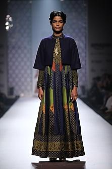 Navy blue, green, mustard and olive green ikat weave panelled jacket anarkali with green palazzos by Ashima Leena