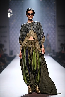 Navy blue printed rectangle high low cape with olive green patiala salwar by Ashima Leena