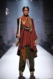 Maroon asymmetric jacket kurta with mustard and olive grreen printed dhotis and maroon printed stole by Ashima Leena