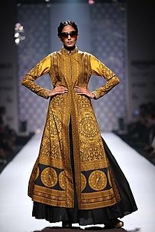 Mustard and black print long jacket with black skirt by Ashima Leena