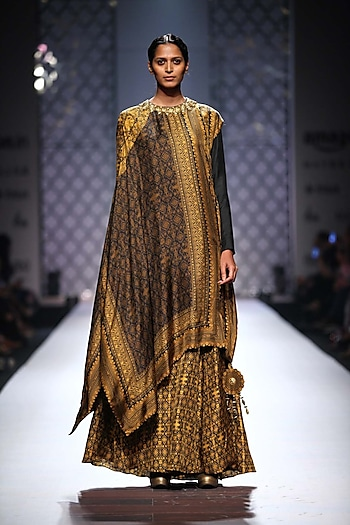 Black and mustard rectangle printed cape with printed abaya by Ashima Leena