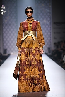 Mustard and maroon printed jacket anarkali by Ashima Leena