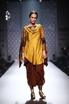 Maroon cowl neck printed sleeves kurta with printed dhoti pants by Ashima Leena