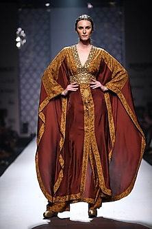 Maroon embellished printed panelled kaftan with printed palazzo by Ashima Leena
