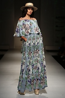 Powder Blue, Lilac and Moss Green Floral Printed off Shoulder Crop Top with Pants by Ashima Leena