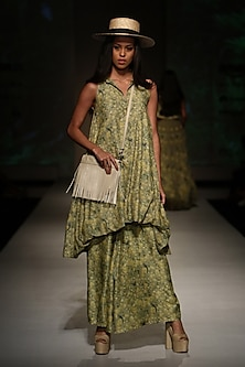 Apple Green Floral Printed Asymmetric Tunic with Palazzo Pants by Ashima Leena