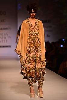 Wine and Gold Floral Printed High Low Cape with Dhoti Pants by Ashima Leena