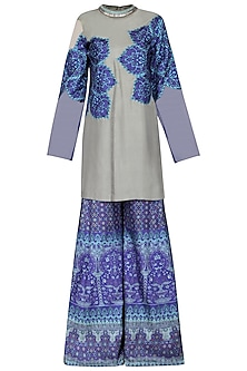 Grey and Blue Applique Kurta with Printed Sharara Pants Set