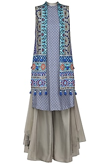 Grey and Blue Embroidered Applique Gilet with Kurta and Flared Pants