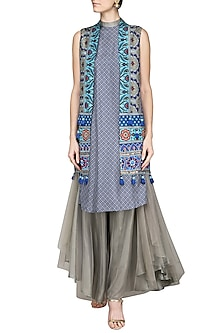 Grey and Blue Embroidered Applique Gilet with Kurta and Flared Pants by Ashima Leena