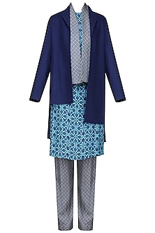 Blue Printed Kurta with Pants and Jacket
