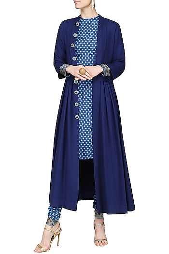 Blue Printed Kurta with Pants and Long Jacket by Ashima Leena