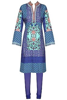 Blue Printed Tunic with Churidar Pants
