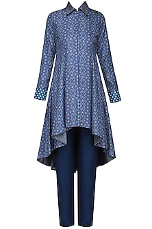 Blue Printed Asymmetrical Kurta with Straight Pants