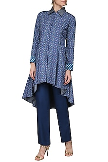 Blue Printed Asymmetrical Kurta with Straight Pants by Ashima Leena