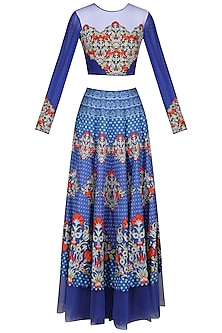 Blue Embellished Crop Top with Lehenga Skirt