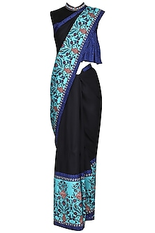 Blue and Black Printed Saree with Embellished Shirt Blouse