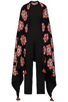 Black Jumpsuit with Applique Pashmina Shawl