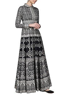 Black Printed Maxi Dress by Ashima Leena