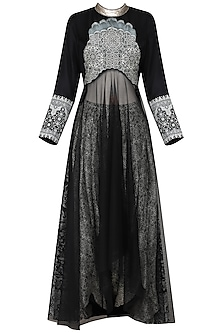 Black Embroidered Kurta with Dhoti Pants