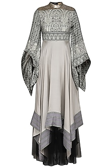 Grey and Black Asymmetrical Anarkali by Ashima Leena