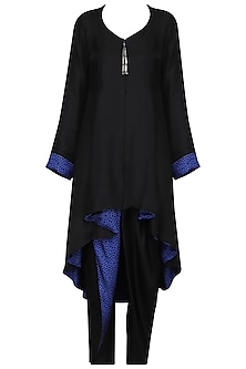 Black High Low Kurta with Dhoti Pants by Ashima Leena